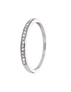 Bague alliance fine avec diamants sertis grains en or blanc