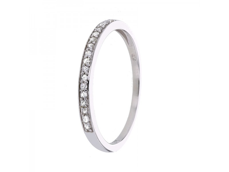 Bague alliance fine avec diamants sertis grains en or blanc