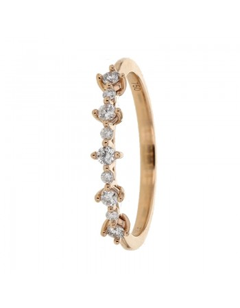 Wedding ring with claw set diamonds in 18 K gold
