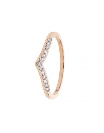 Bague alliance en aile diamants sertis grains en or rose