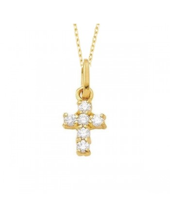 Claw set diamond cross pendant in 18 K gold