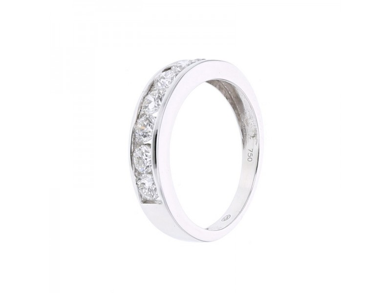 Diamond wedding ring in white gold - 18 K gold: 2.65 Gr