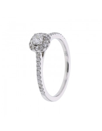 Diamond engagement ring in white gold - 18 K gold: 2.40 Gr