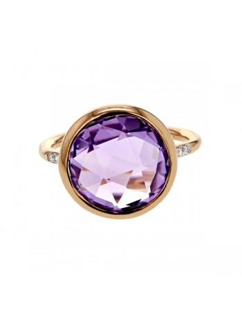 Diamond sides round amethyst ring in 9 K gold