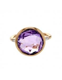 Diamond sides round amethyst ring in 9 K gold