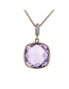Pendentif améthyste carré et diamants en or rose