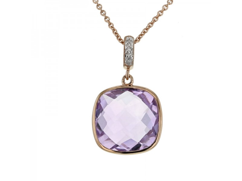 Square amethyst with diamond hook pendant in 9 K gold