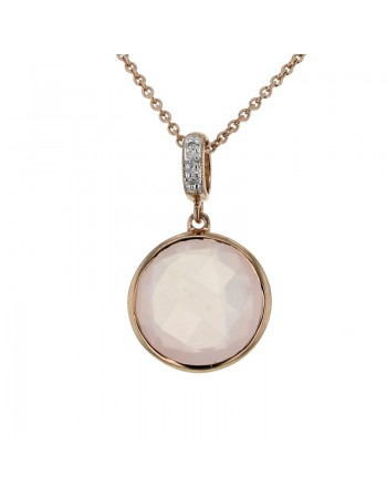 Round pink quartz with diamond hook pendant in 9 K gold