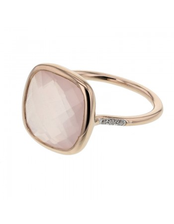 Diamond sides square pink quartz ring in 9 K gold