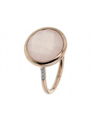 Diamond sides round pink quartz ring in 9 K gold
