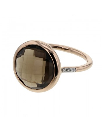 Diamond sides round smoky quartz ring in 9 K gold