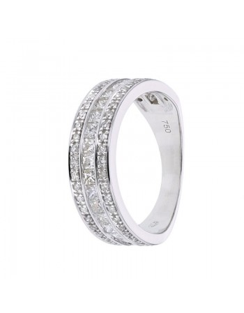 Bague large alliance diamants princesse en or blanc