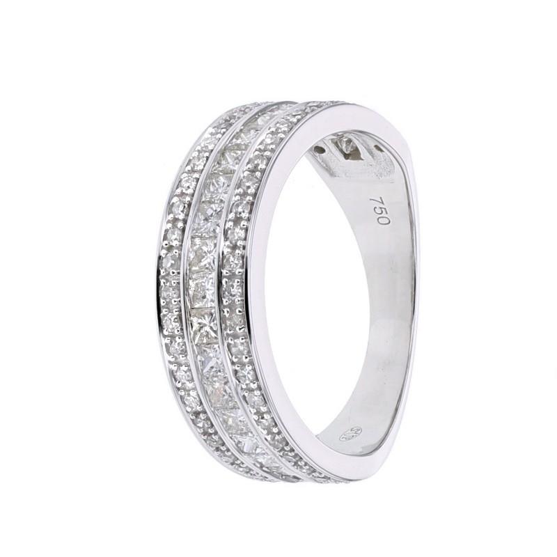 b86cca60dbac7 Bague large alliance diamants princesse en or blanc