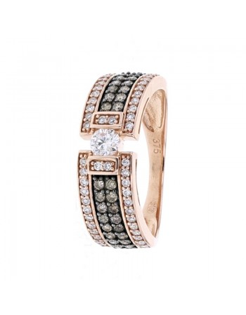Bague solitaire et diamants art deco en or rose