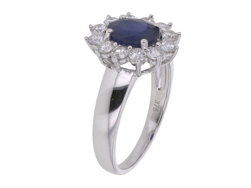 Fabuleux Bague saphir entourage de diamants YY71