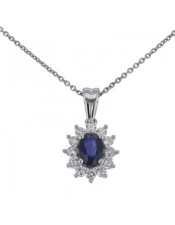 Pendentif saphir entourage de diamants en or blanc