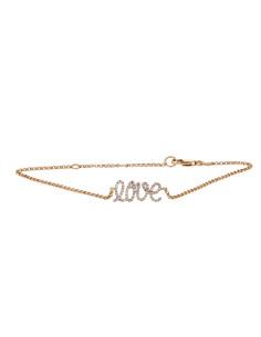 Bracelet love pavé de diamants sur une chaîne en or rose