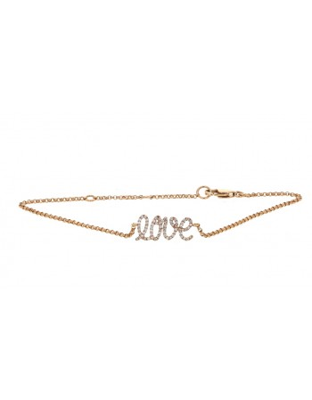 Love inscription pave set bracelet with diamonds in 18 K gold