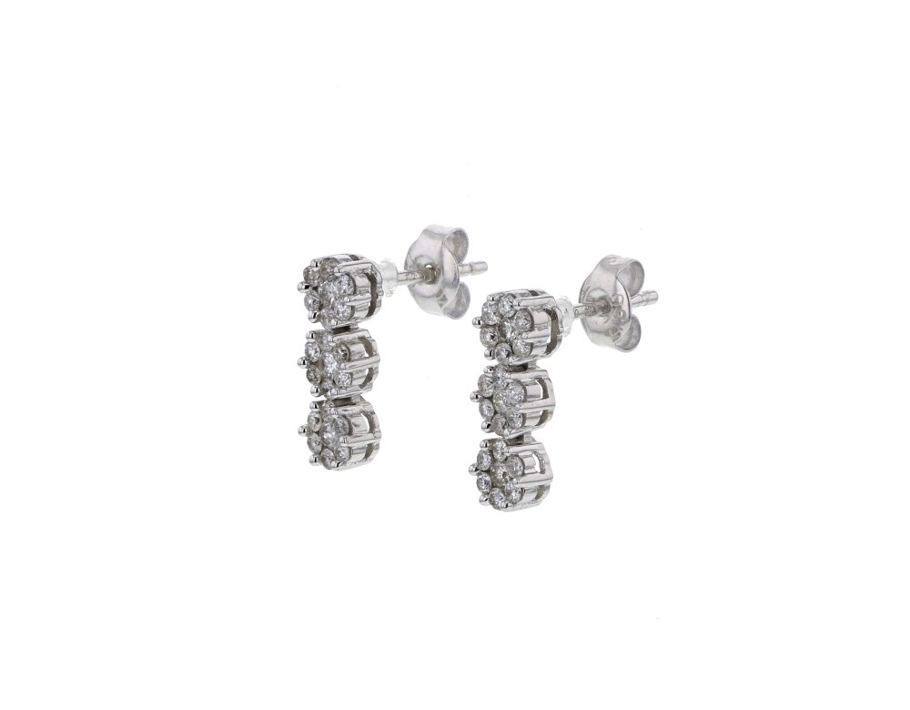 Diamond Earrings Multi Stone Cluster Diamond Earrings In