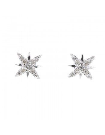 Star shape diamond earrings in 9 K gold