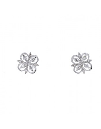 Vintage style flower shape diamond earrings in 9 K gold
