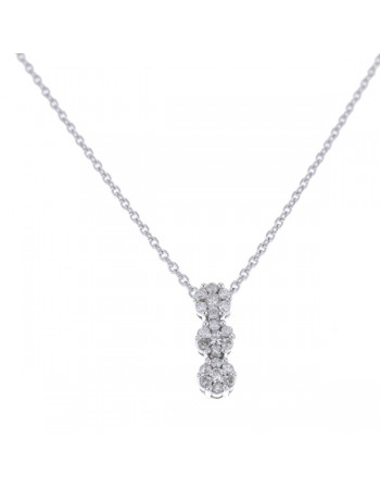 Collier trilogie multi-pierres diamants en or blanc