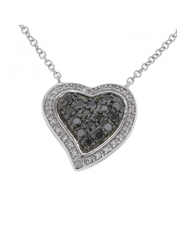 Hear shape necklace with black and white diamonds in 18 K gold