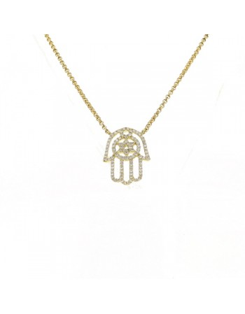 Fatima hand shape diamonds pave set necklace in 18 K gold