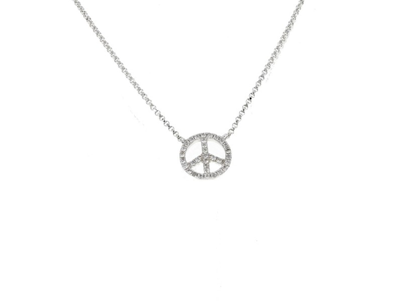 Peace shape pave set diamond necklace in 18 K gold