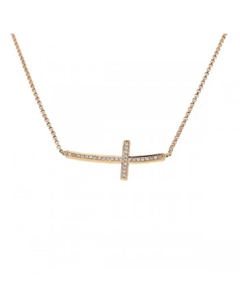 Cross shape pave set diamond necklace in 18 K gold