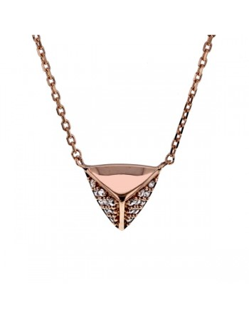 Collier star w facettes paves de diamants en or rose