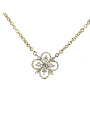 Collier fleur vintage diamants en or jaune
