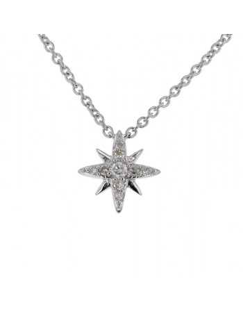 Modern star pave set diamonds necklace in 9 K gold
