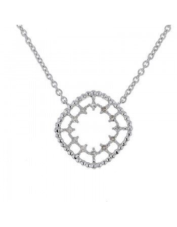 Collier carré perlé diamanté en or blanc