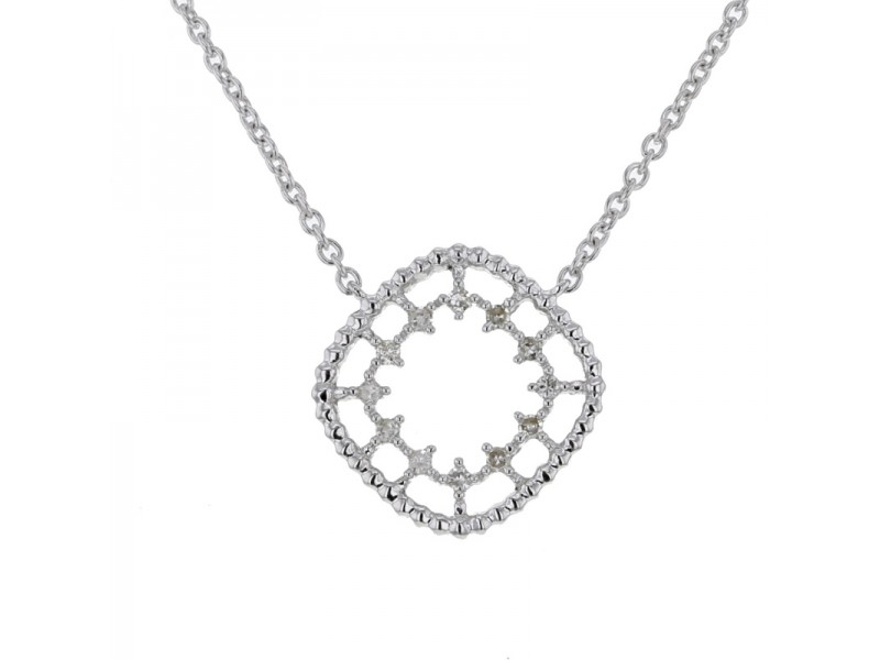 Byzantine style square shape with diamonds necklace in 9 K gold
