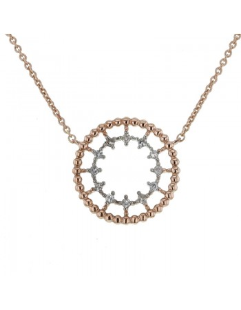 Collier rond perlé diamanté en or rose