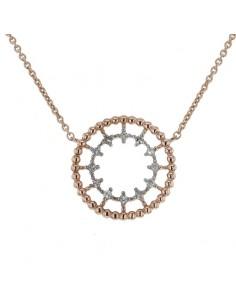 Collier rond perlé diamanté en or rose