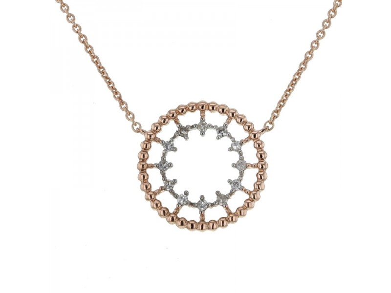 Byzantine style round shape with diamonds necklace in 9 K gold