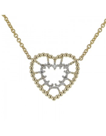 Collier coeur perlé diamanté en or jaune