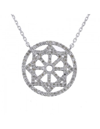 Collier roue pavé de diamants en or blanc
