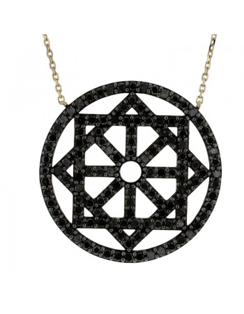 Collier roue pavé diamants noirs en or jaune