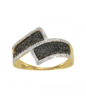 Bague diamants noirs et blancs en or jaune