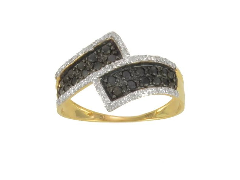 Black and white diamond pave set ring in 18 K gold