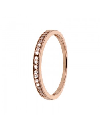 Bague alliance fine avec diamants sertis grains en or rose