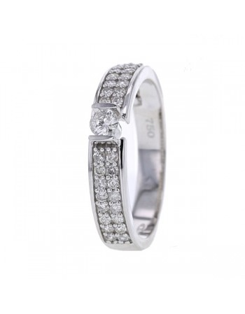 Pave set diamond sided solitaire ring in 18 K gold