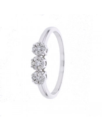 Bague multi-pierres trilogie diamants en or blanc