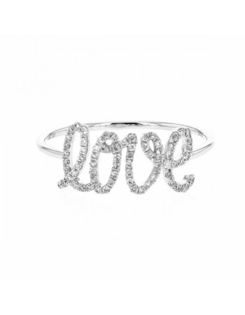 Love inscription ring pave set in 18 K gold