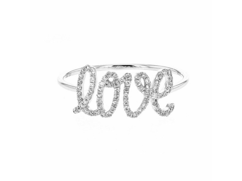 Bague love pavé diamants en or blanc