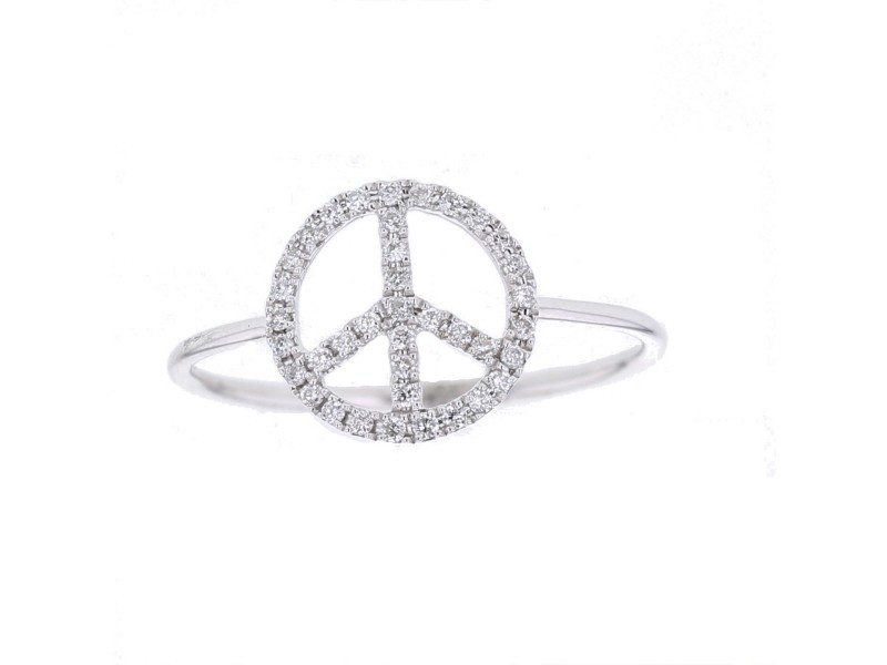 Peace sign ring pave set diamonds in 18 K gold
