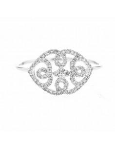 Bague joli entrelacé de pavés de diamants en or blanc